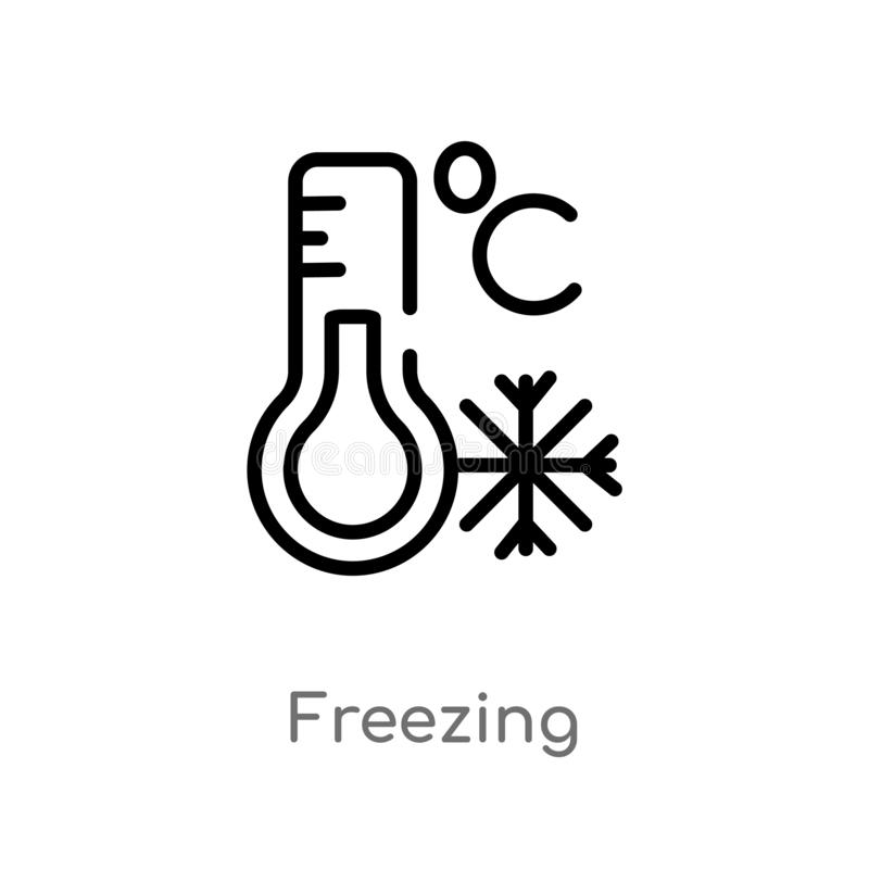 Outline freezing vector icon. isolated black simple line element illustration from weather concept. editable vector stroke. Freezing icon on white background vector illustration