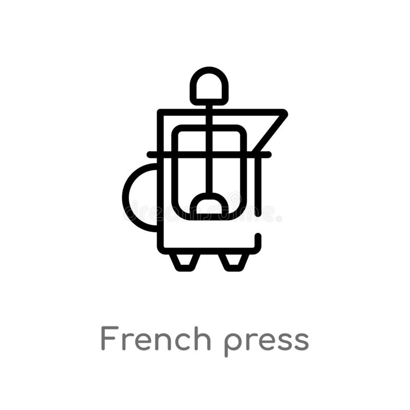 outline french press vector icon. isolated black simple line element illustration from drinks concept. editable vector stroke vector illustration