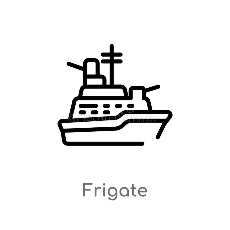 Outline frigate vector icon. isolated black simple line element illustration from nautical concept. editable vector stroke frigate. Icon on white background royalty free illustration