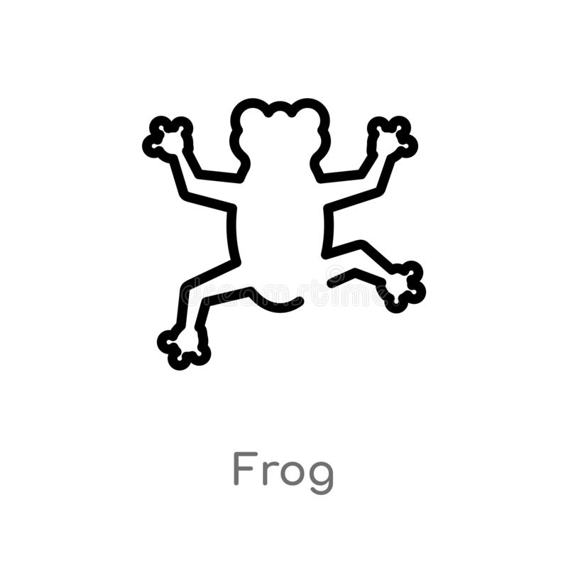 outline frog vector icon. isolated black simple line element illustration from education 2 concept. editable vector stroke frog stock illustration