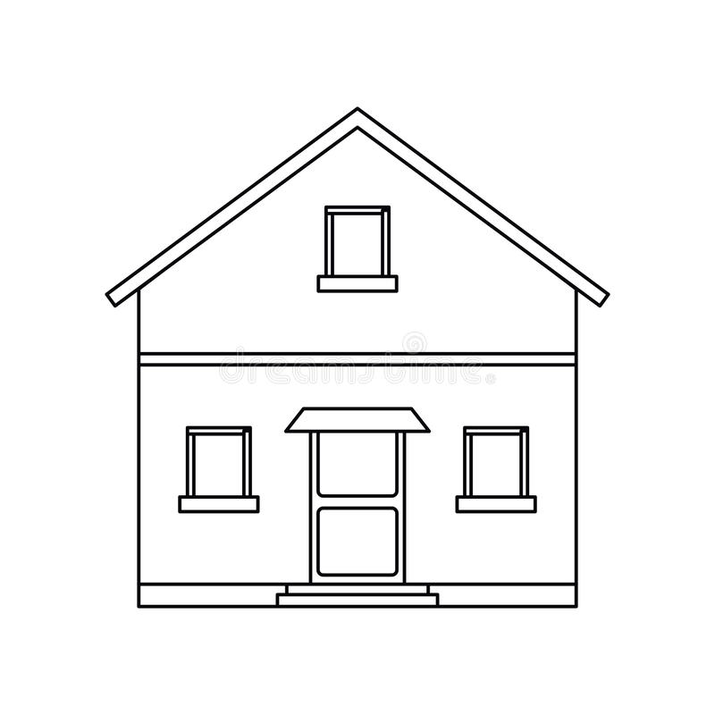 Outline front view house home stock illustration