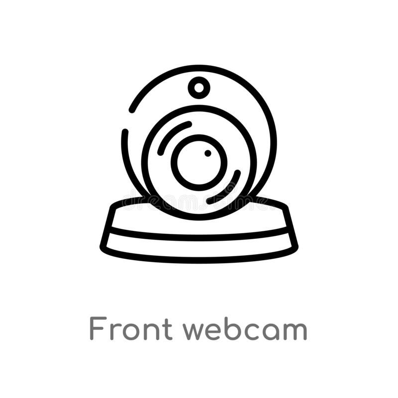 outline front webcam vector icon. isolated black simple line element illustration from technology concept. editable vector stroke royalty free illustration