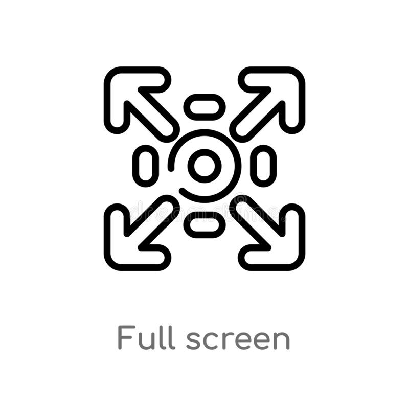 Outline full screen vector icon. isolated black simple line element illustration from user interface concept. editable vector. Stroke full screen icon on white royalty free illustration