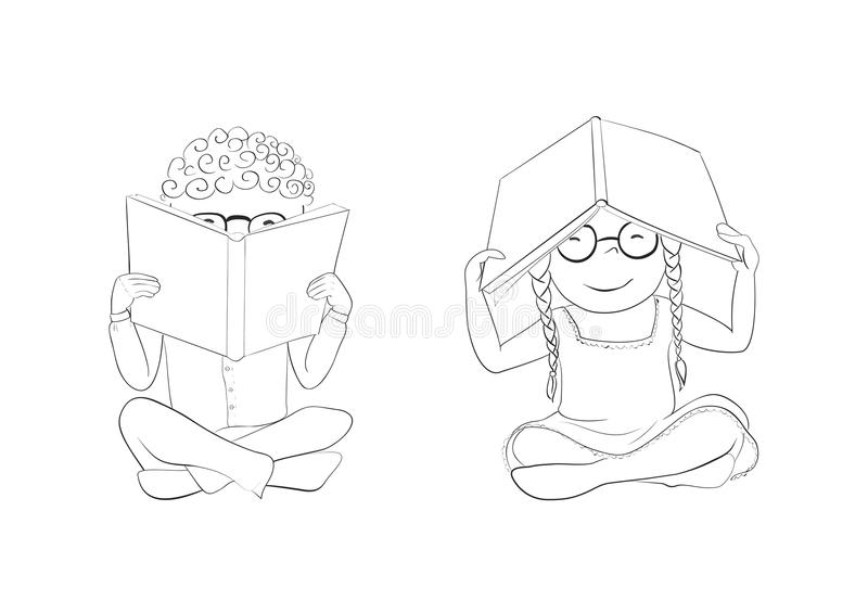 Outline Funny Kids Reading Books For Coloring Stock Vector ...