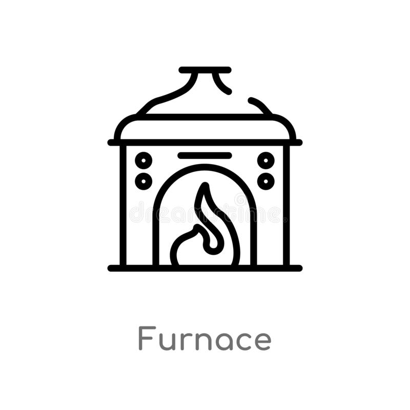 Outline furnace vector icon. isolated black simple line element illustration from electronic devices concept. editable vector. Stroke furnace icon on white royalty free illustration