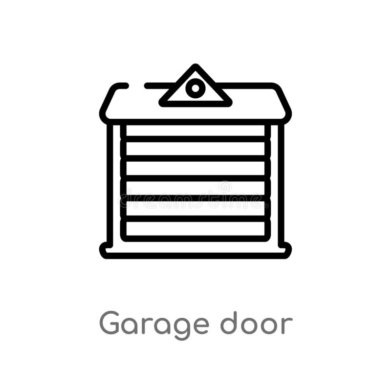 outline garage door vector icon. isolated black simple line element illustration from architecture and city concept. editable royalty free illustration