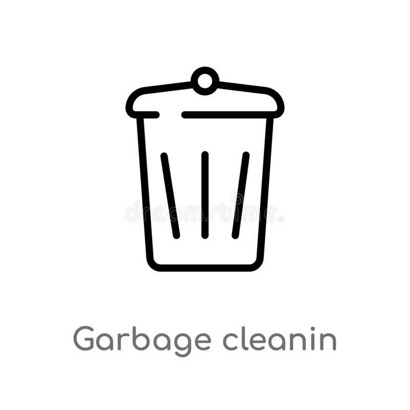 outline garbage cleanin vector icon. isolated black simple line element illustration from cleaning concept. editable vector stroke royalty free illustration