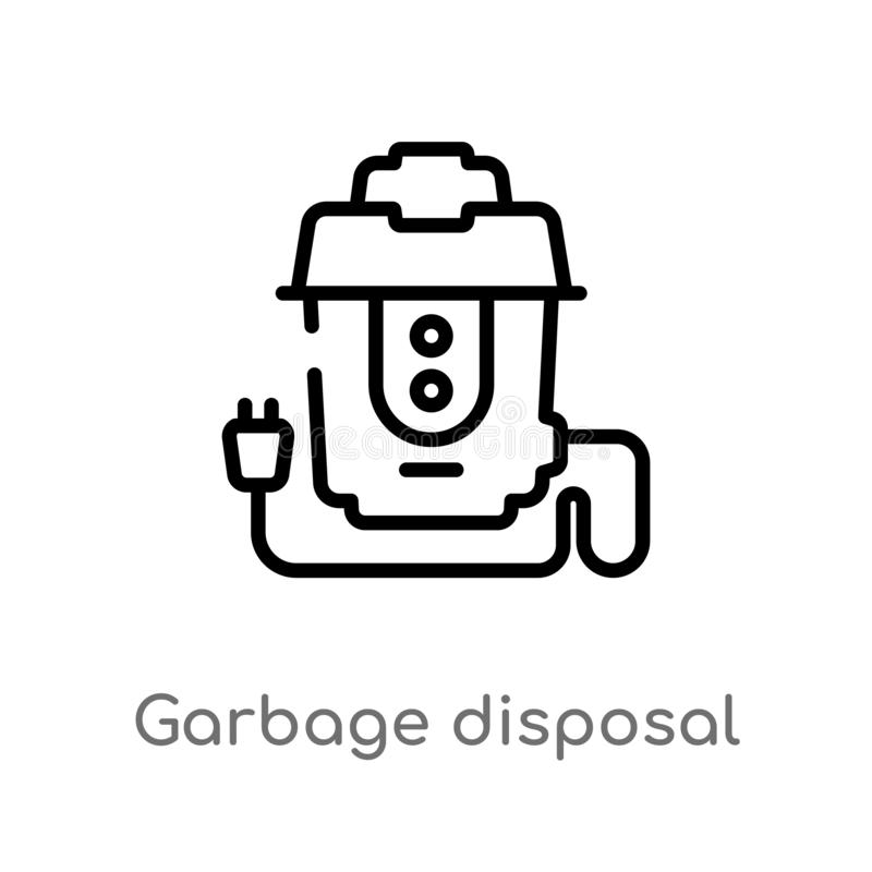 Outline garbage disposal vector icon. isolated black simple line element illustration from electronic devices concept. editable. Vector stroke garbage disposal stock illustration
