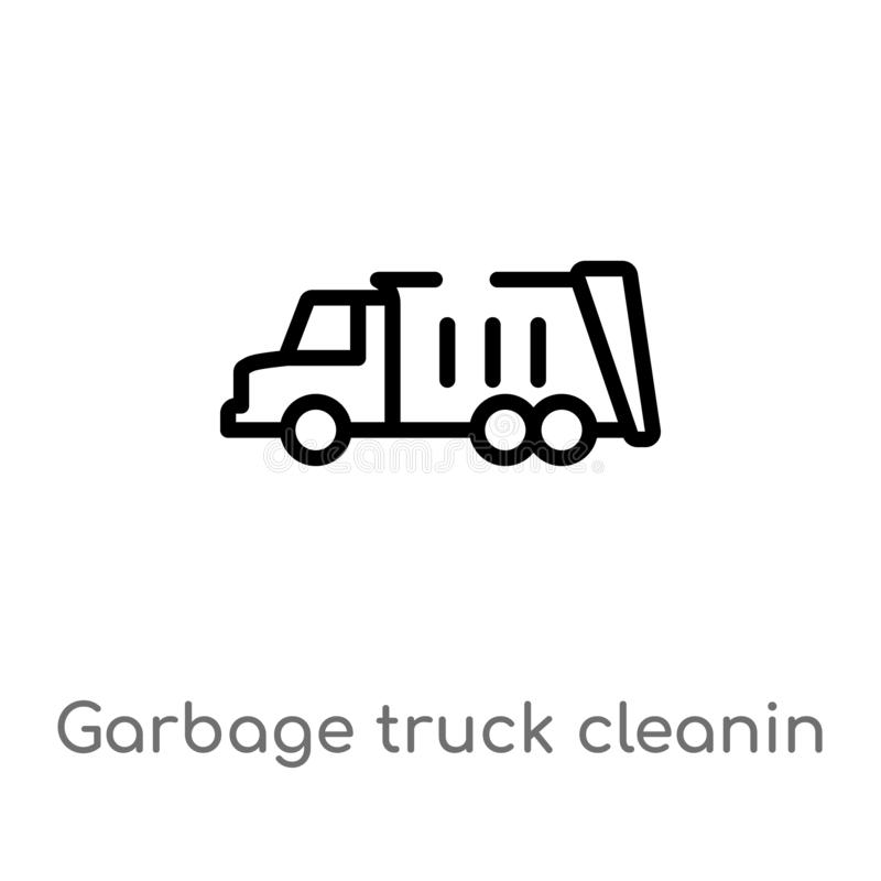 outline garbage truck cleanin vector icon. isolated black simple line element illustration from cleaning concept. editable vector vector illustration
