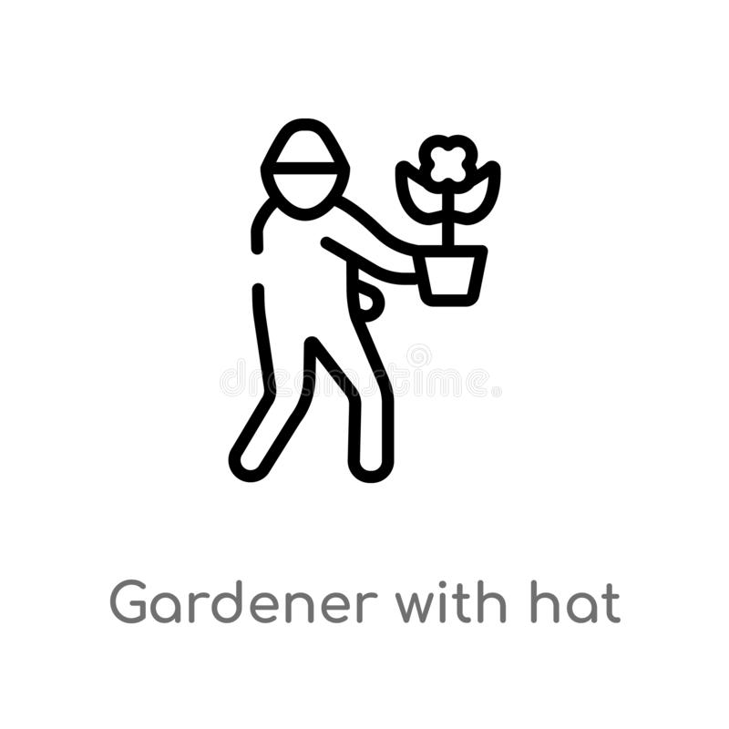 outline gardener with hat vector icon. isolated black simple line element illustration from humans concept. editable vector stroke royalty free illustration
