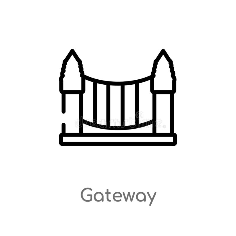 outline gateway vector icon. isolated black simple line element illustration from city elements concept. editable vector stroke royalty free illustration