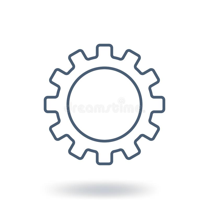 Outline Gear Icon. Setting symbol. Flat style. Vector illustration isolated on white background. royalty free illustration