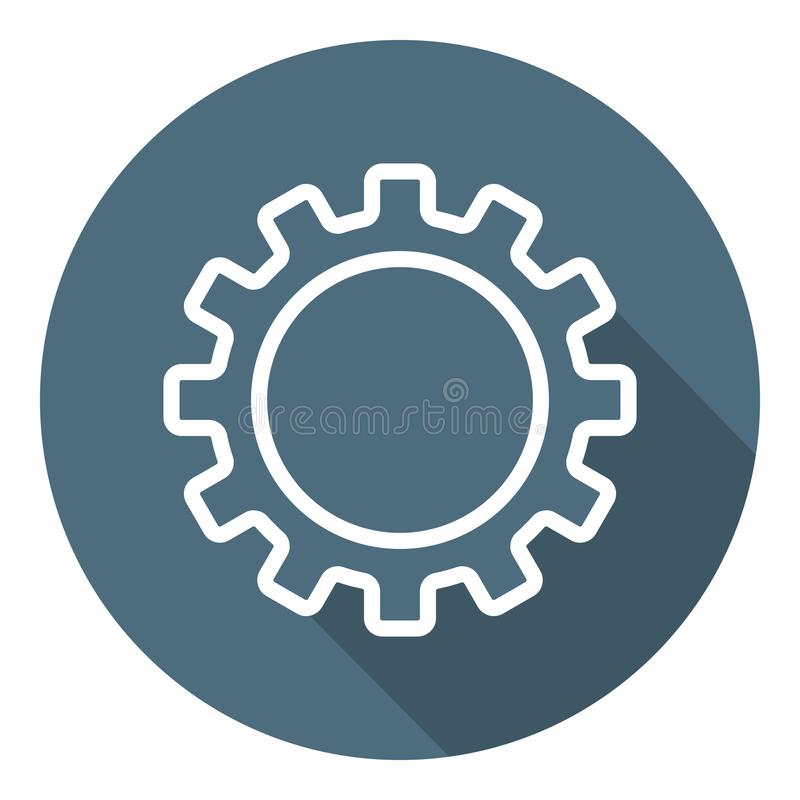 Outline Gear Icon. Setting Symbol. Flat Style. Vector illustration for Your Design, Web royalty free illustration