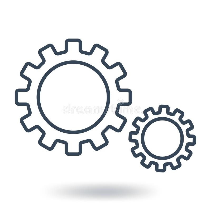 Outline Gear Icon. Teamwork symbol. Flat style. Vector illustration isolated on white background. vector illustration