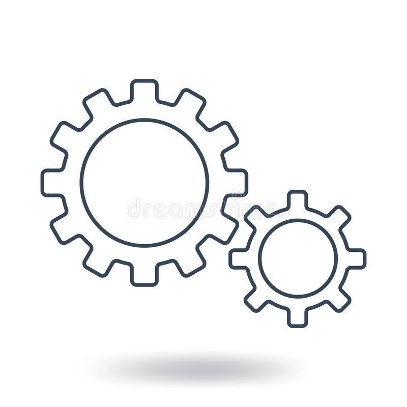 Outline Gear Icon. Teamwork symbol. Flat style. Vector illustration isolated on white background. royalty free illustration