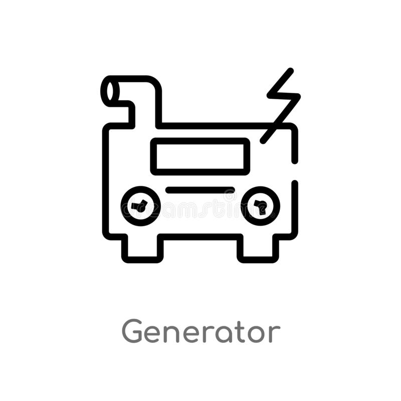 Outline generator vector icon. isolated black simple line element illustration from astronomy concept. editable vector stroke. Generator icon on white vector illustration