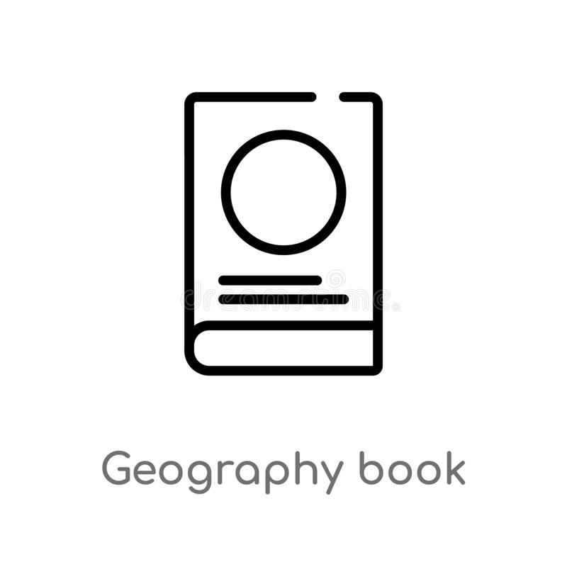 Outline geography book vector icon. isolated black simple line element illustration from travel concept. editable vector stroke. Geography book icon on white stock illustration