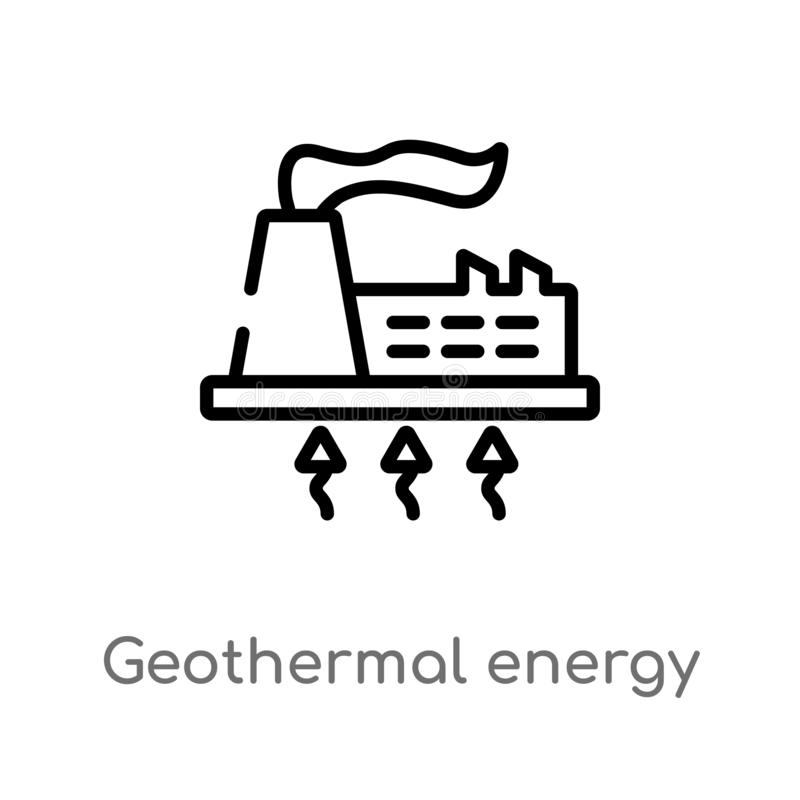 outline geothermal energy vector icon. isolated black simple line element illustration from ecology concept. editable vector vector illustration