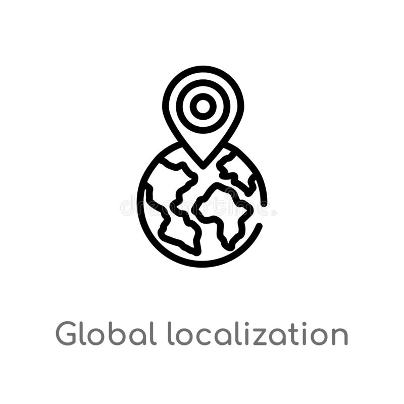 outline global localization vector icon. isolated black simple line element illustration from networking concept. editable vector royalty free illustration