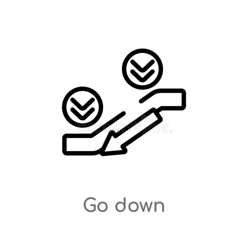 outline go down vector icon. isolated black simple line element illustration from accommodation concept. editable vector stroke go vector illustration
