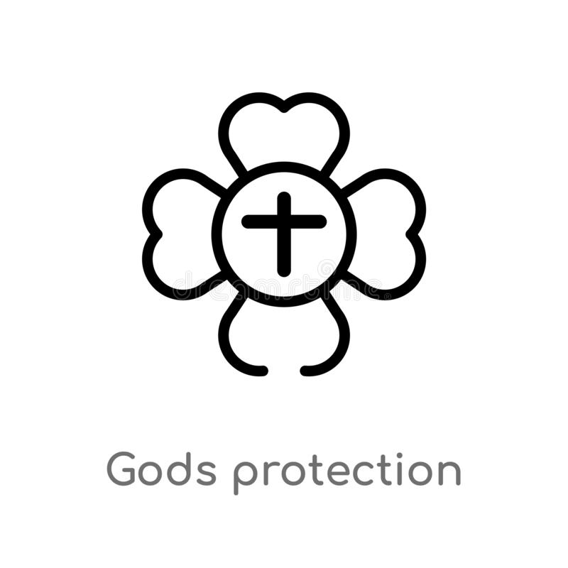 outline gods protection vector icon. isolated black simple line element illustration from zodiac concept. editable vector stroke stock illustration