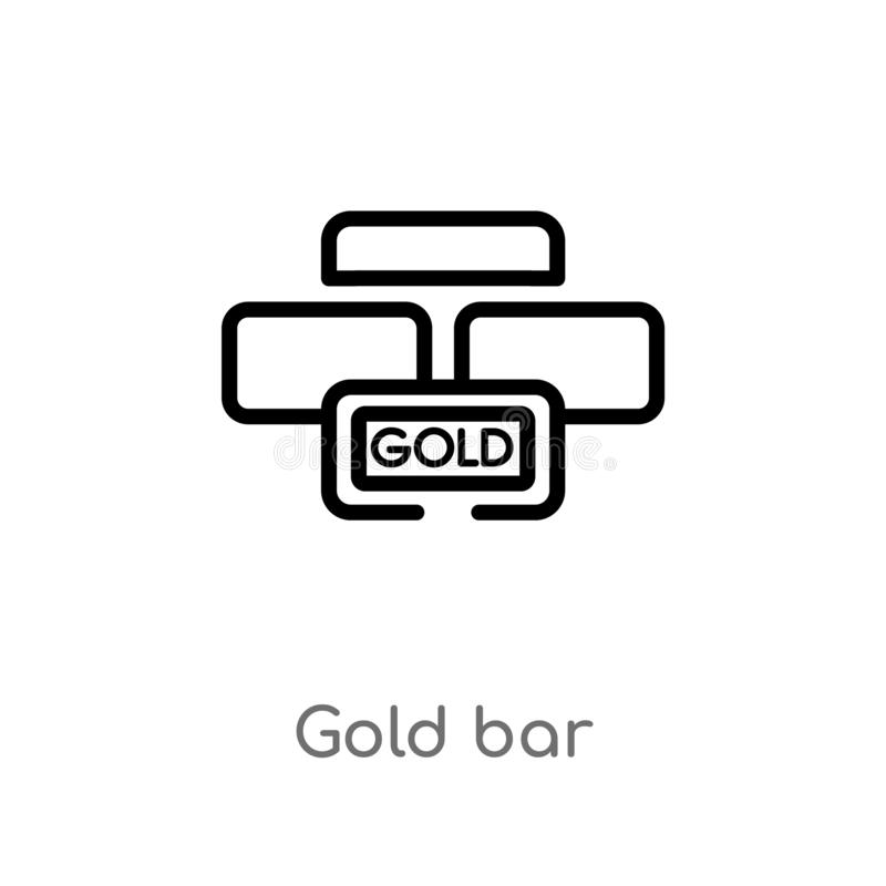 Outline gold bar vector icon. isolated black simple line element illustration from luxury concept. editable vector stroke gold bar. Icon on white background stock illustration