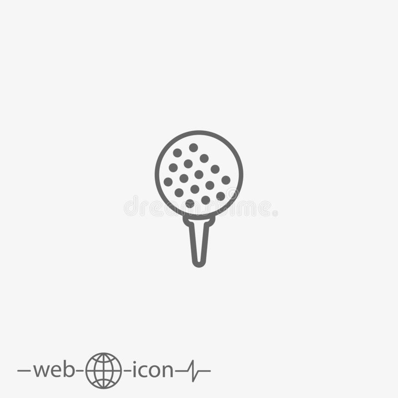 Golf ball vector icon. Outline golf ball on white background royalty free illustration