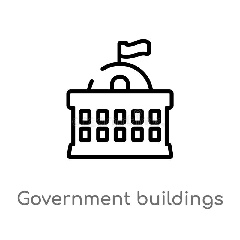 outline government buildings vector icon. isolated black simple line element illustration from city elements concept. editable royalty free illustration