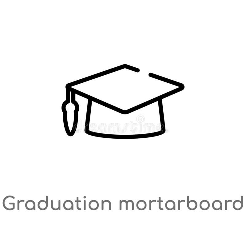 outline graduation mortarboard vector icon. isolated black simple line element illustration from education concept. editable vector illustration