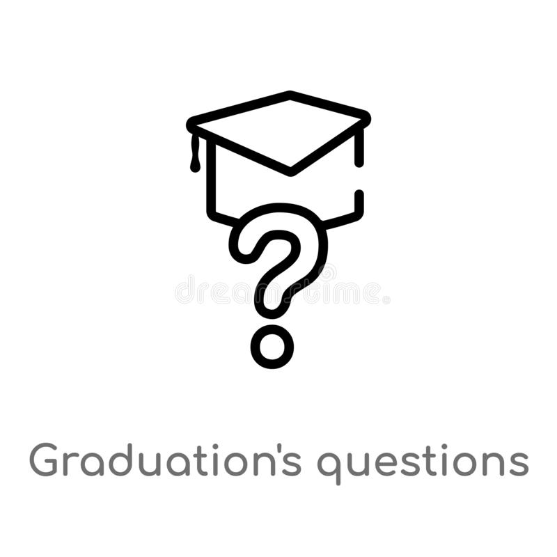 outline graduation\'s questions vector icon. isolated black simple line element illustration from other concept. editable vector vector illustration