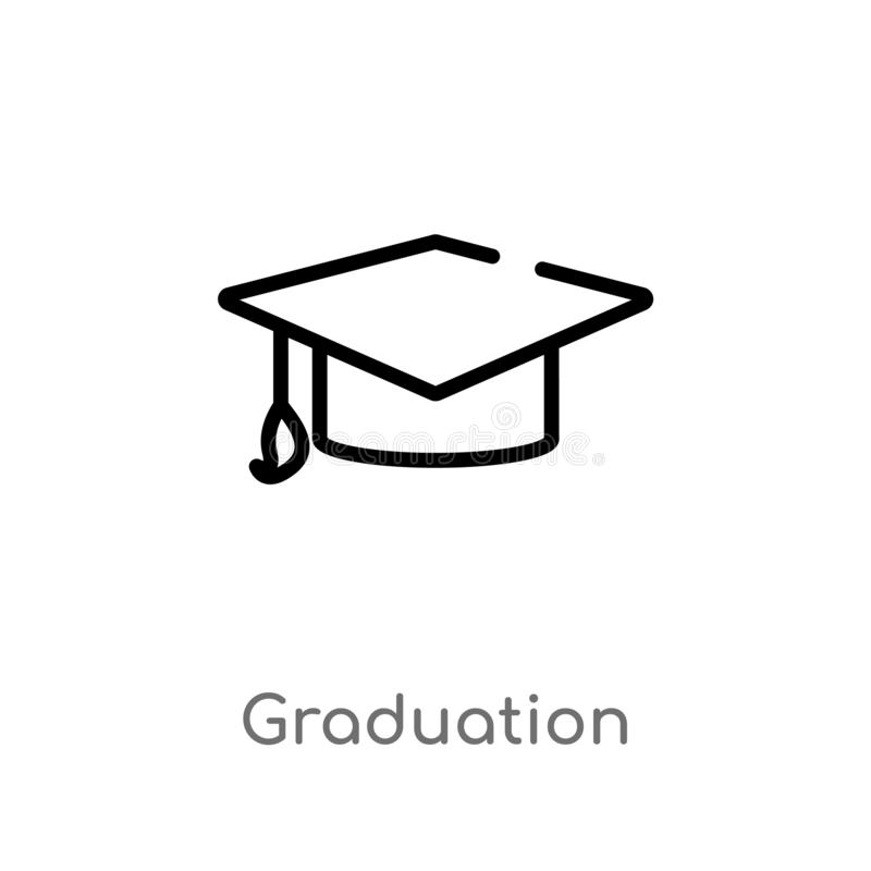 outline graduation vector icon. isolated black simple line element illustration from strategy concept. editable vector stroke royalty free illustration