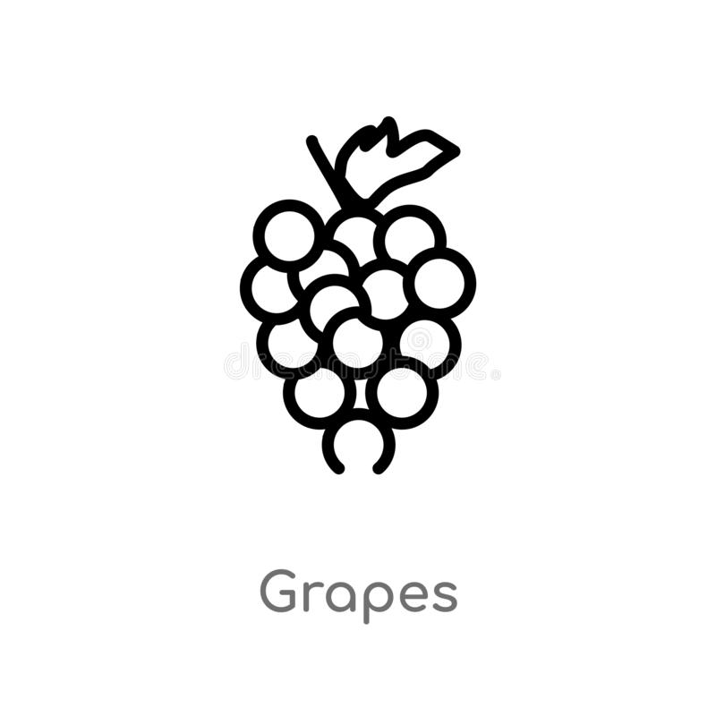 outline grapes vector icon. isolated black simple line element illustration from fruits concept. editable vector stroke grapes stock illustration