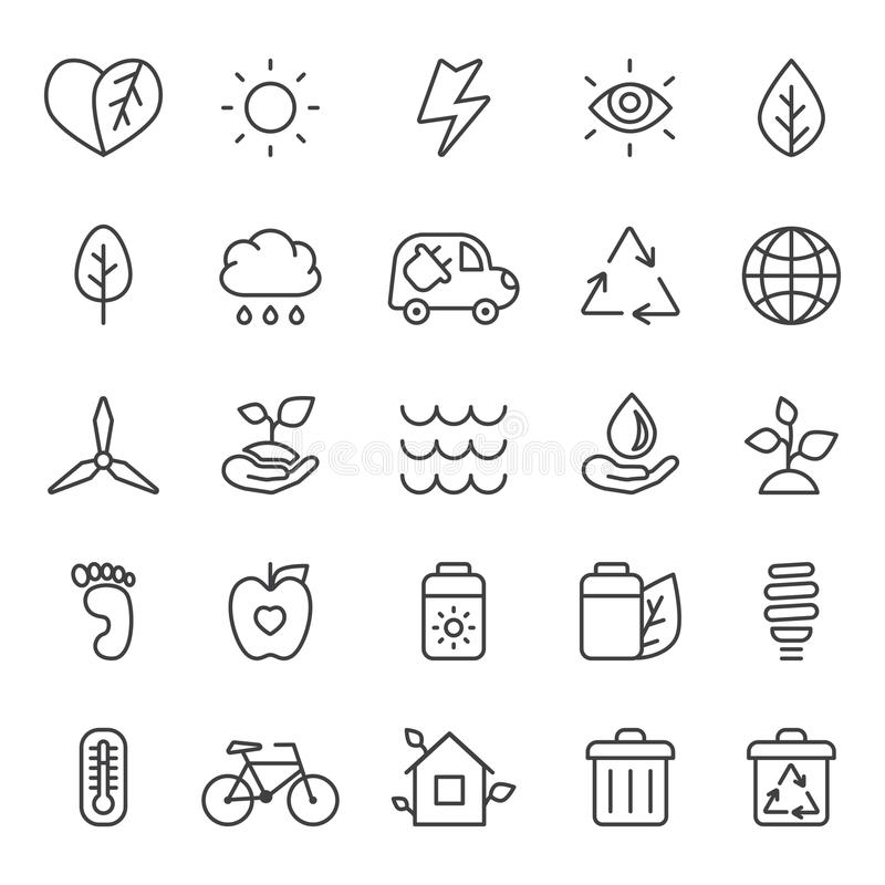 Outline gray eco icons vector set. Minimalistic style. stock illustration