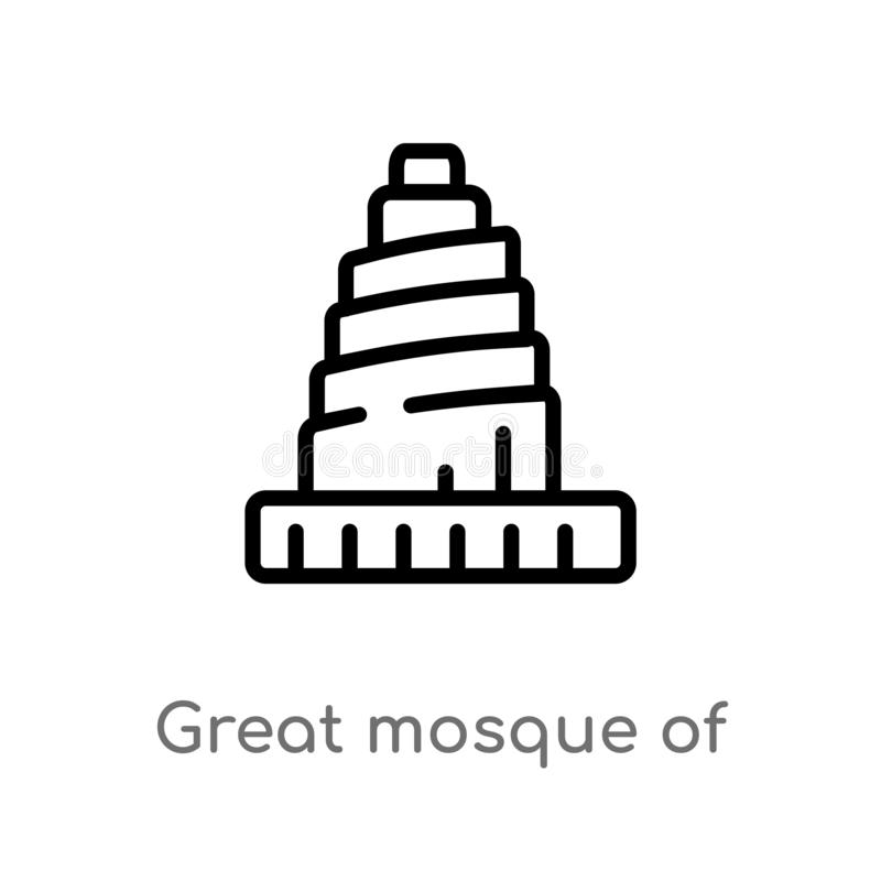outline great mosque of samarra vector icon. isolated black simple line element illustration from monuments concept. editable royalty free illustration