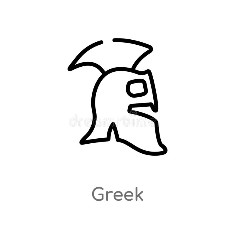 outline greek vector icon. isolated black simple line element illustration from history concept. editable vector stroke greek icon royalty free illustration