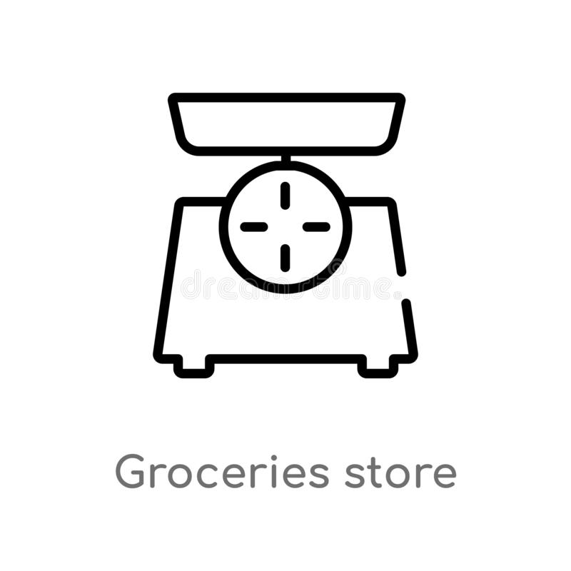 outline groceries store scale vector icon. isolated black simple line element illustration from measurement concept. editable vector illustration
