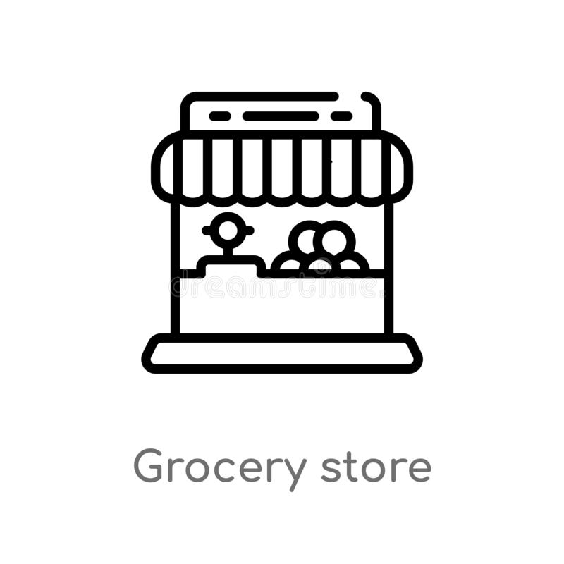 outline grocery store vector icon. isolated black simple line element illustration from commerce concept. editable vector stroke vector illustration
