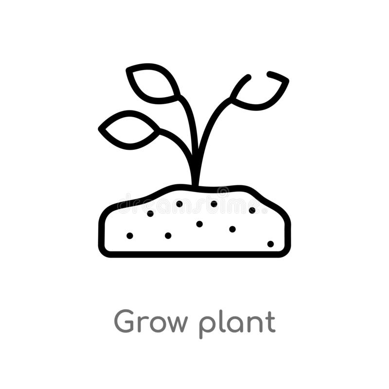 Outline grow plant vector icon. isolated black simple line element illustration from nature concept. editable vector stroke grow. Plant icon on white background stock illustration