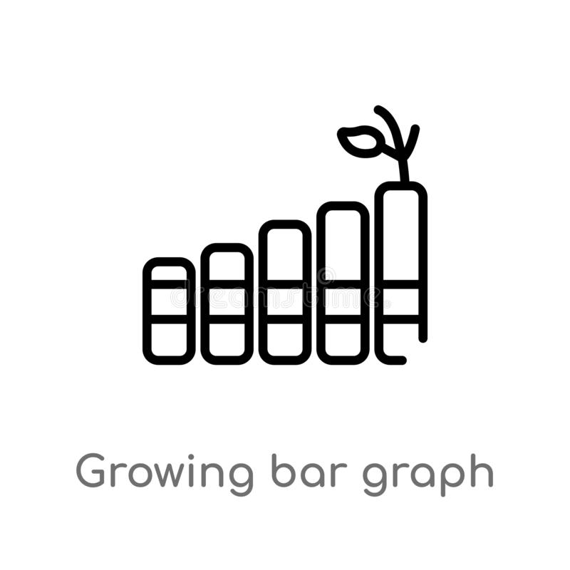 Outline growing bar graph vector icon. isolated black simple line element illustration from business concept. editable vector. Stroke growing bar graph icon on vector illustration