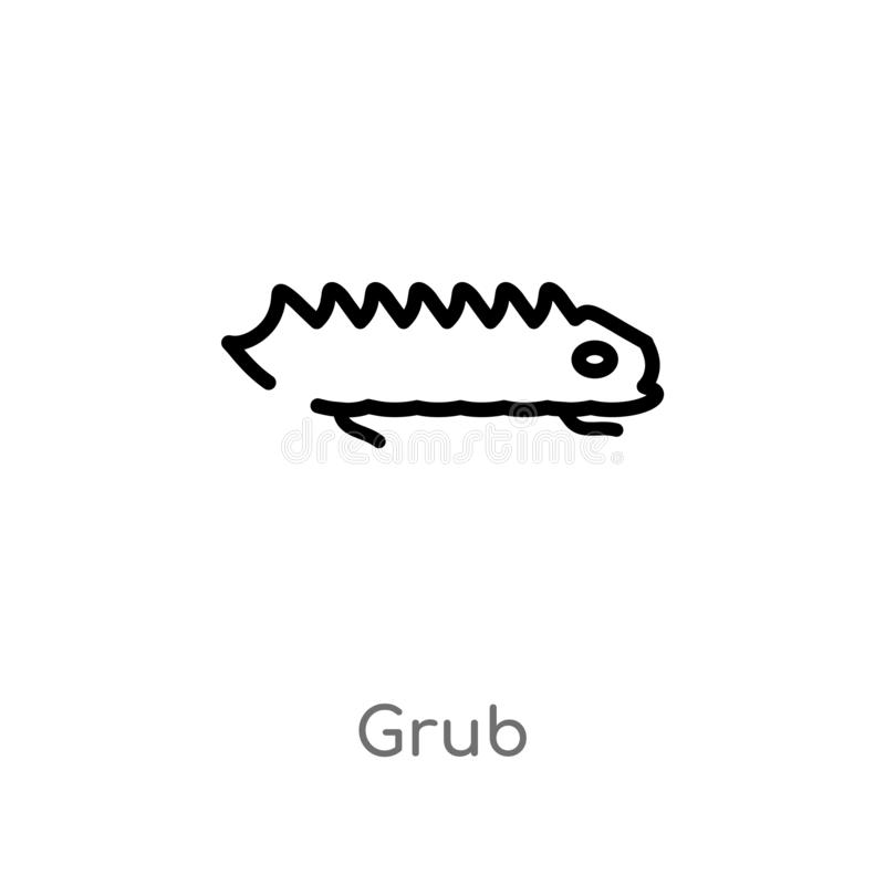 outline grub vector icon. isolated black simple line element illustration from animals concept. editable vector stroke grub icon royalty free illustration