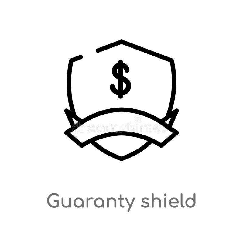 Outline guaranty shield vector icon. isolated black simple line element illustration from e-commerce and payment concept. editable. Vector stroke guaranty vector illustration