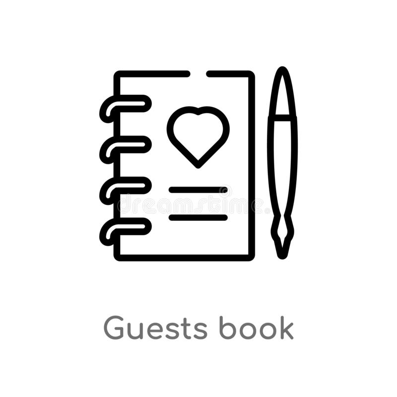 Outline guests book vector icon. isolated black simple line element illustration from birthday party and wedding concept. editable. Vector stroke guests book royalty free illustration