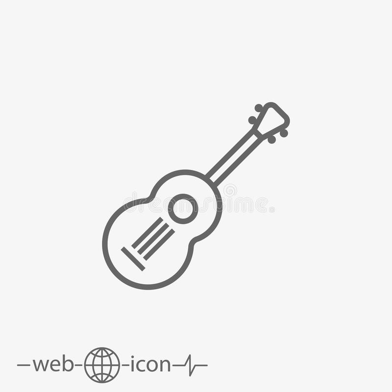Guitar vector icon. Outline guitar vector icon on white background royalty free illustration