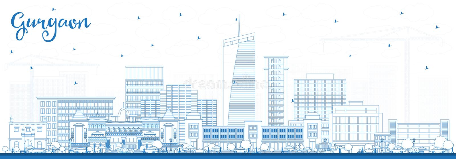 Outline Gurgaon India City Skyline with Blue Buildings. Vector Illustration. Business Travel and Tourism Concept with Modern Architecture. Gurgaon Cityscape vector illustration
