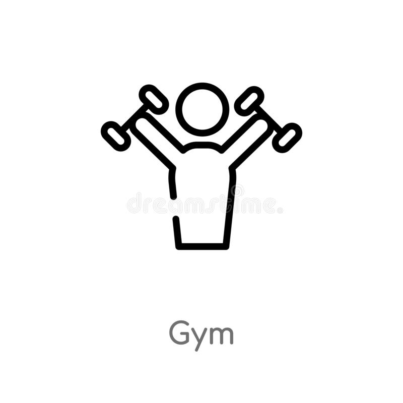 outline gym vector icon. isolated black simple line element illustration from health concept. editable vector stroke gym icon on royalty free illustration