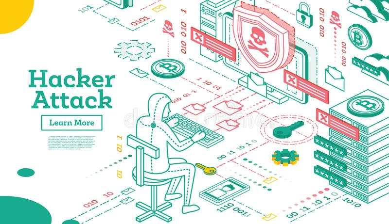 Outline Hacker Attack. Isometric Cyber Security Concept. Vector Illustration royalty free illustration
