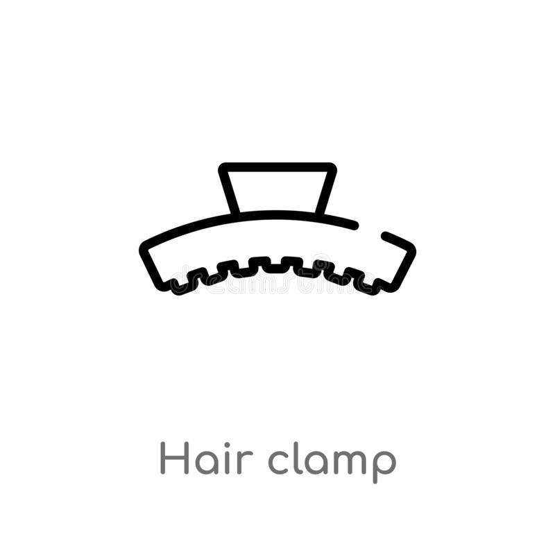 outline hair clamp vector icon. isolated black simple line element illustration from beauty concept. editable vector stroke hair vector illustration