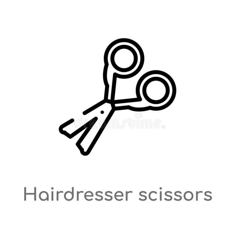 outline hairdresser scissors vector icon. isolated black simple line element illustration from beauty concept. editable vector royalty free illustration