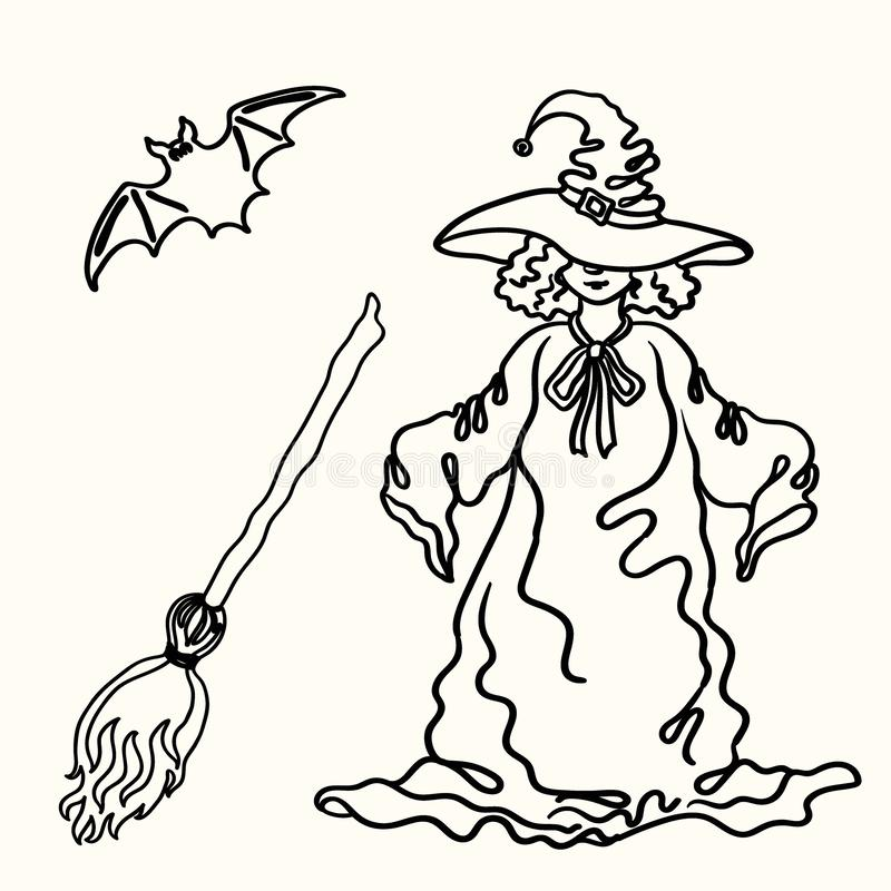 Outline Halloween witch, broom, bat silhouette on the white stock illustration