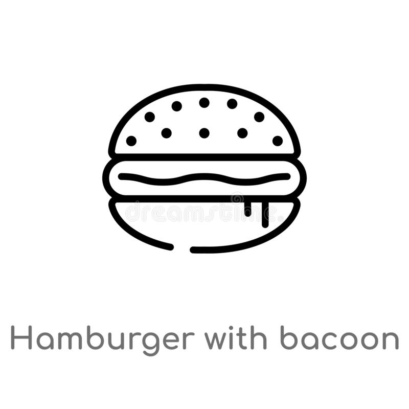 outline hamburger with bacoon vector icon. isolated black simple line element illustration from food concept. editable vector vector illustration